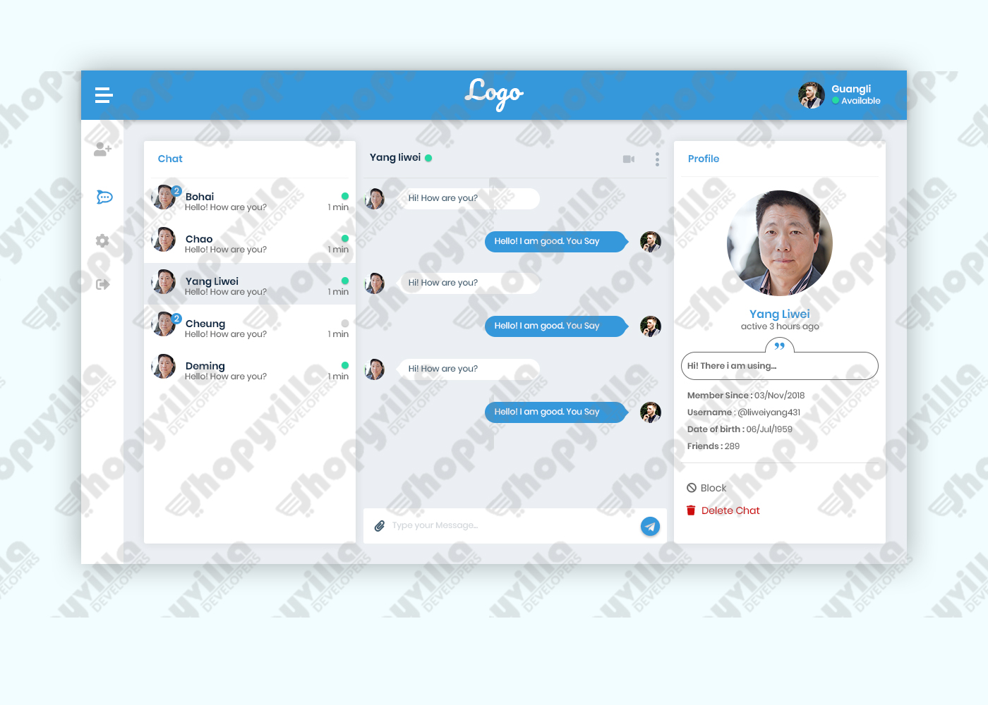 Chat app - shopyvilla developers