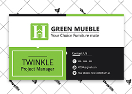Green white Business Card